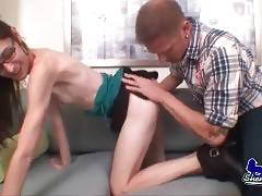 Hungry guy is fondling and kissing skinny shemale.